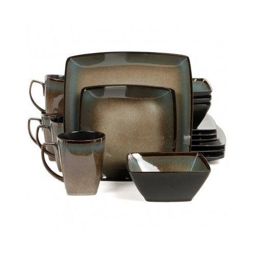 Square Dinnerware Set 16 Piece Stoneware Dishes Plates Cups Bowls Home Kitchen  sc 1 st  Pinterest & Square Dinnerware Set 16 Piece Stoneware Dishes Plates Cups Bowls ...