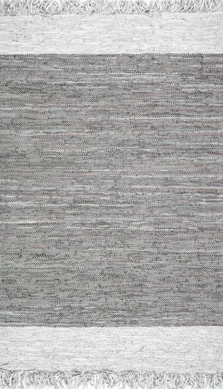 nuLOOM Solid /& Striped Handmade Otha Tassel Area Rug in Gray