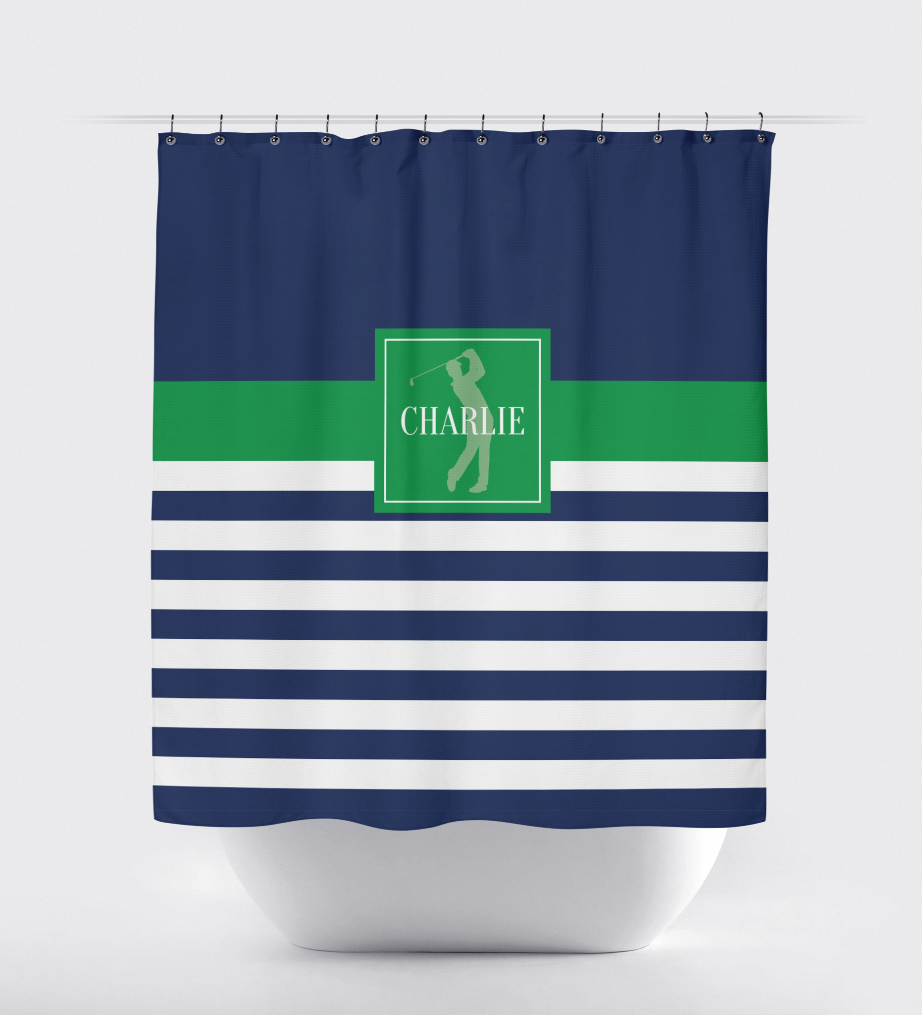 Golf Shower Curtain With Rugby Stripes Navy Blue Green White