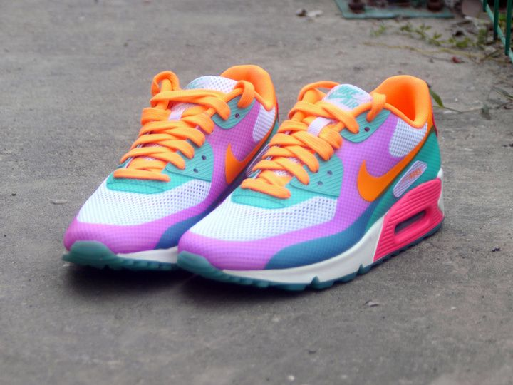 NIKE AIR MAX 90 HYPERFUSE RAINBOW BRIGHT CITRUS PINK BLUE