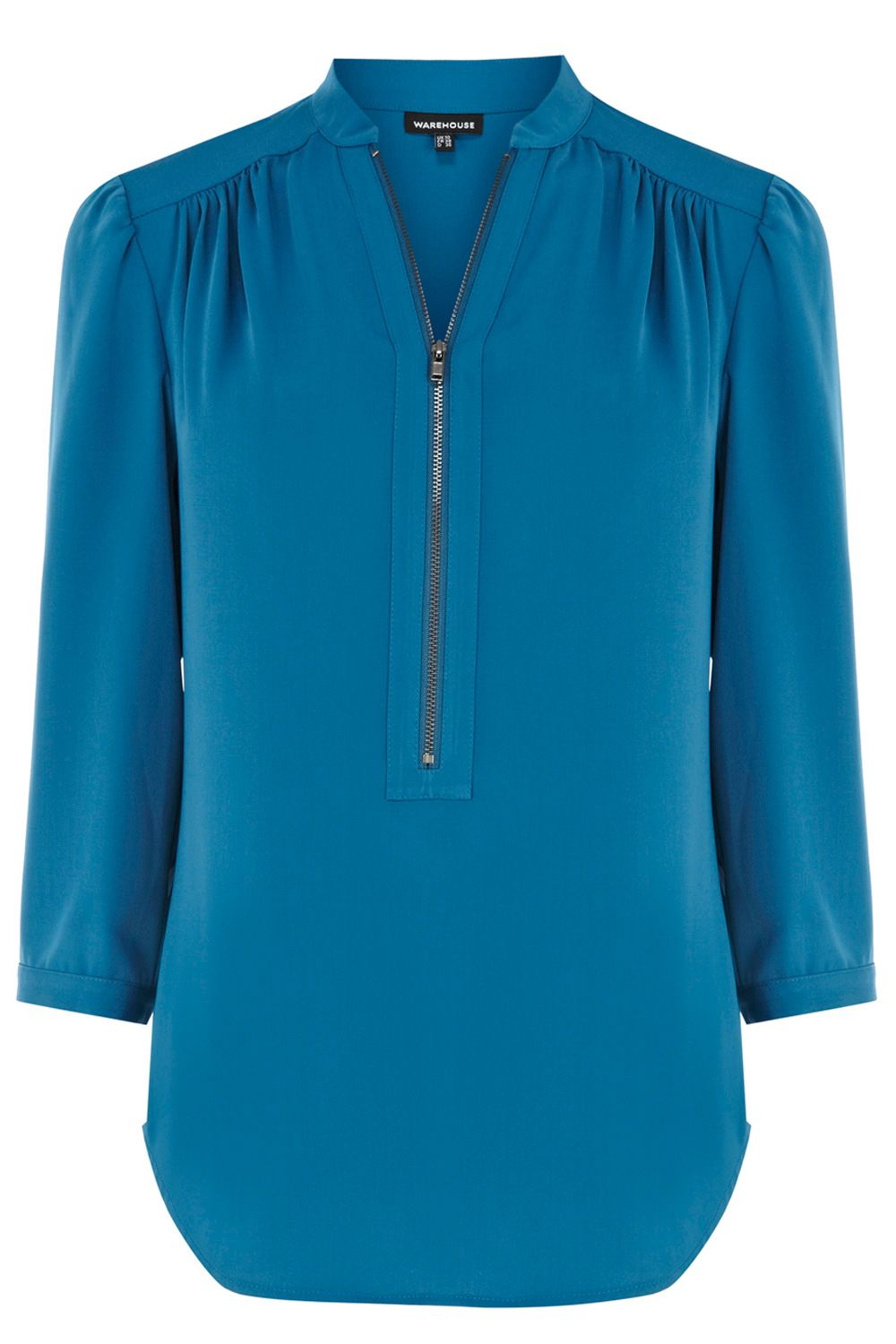 Shirts & Blouses | Green ZIP FRONT BLOUSE | Warehouse