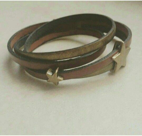 Bracelet cuir marron et bronze #diy #handmade