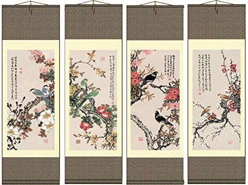 Grace Art Asian Wall Scroll Set Of 4 Four Seasons With Birds