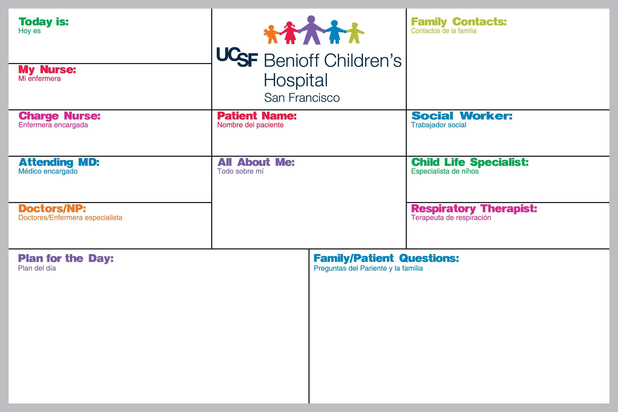 Bilingual Medical Patient Board for UCSF Benioff Children's Hospital