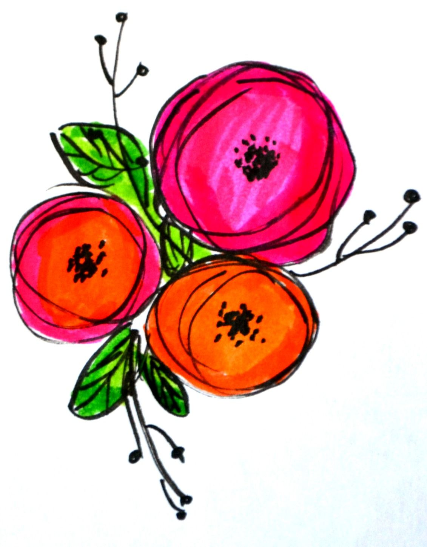 Basic Hand Lettering: Flower Embellishments | Hand drawn flowers ...