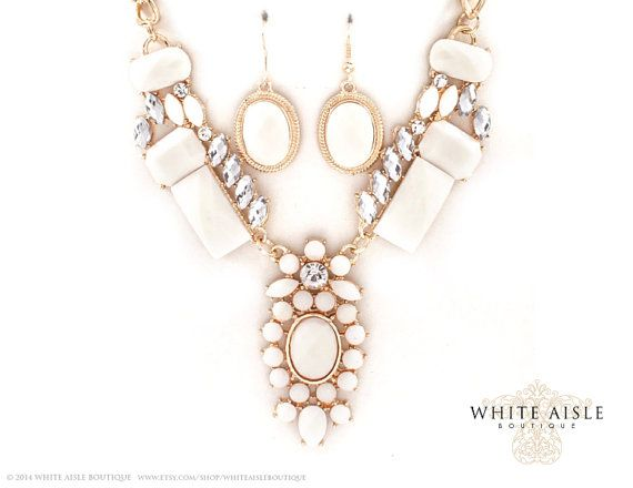 White Vintage Inspired Bridal Jewelry Set by WhiteAisleBoutique ...