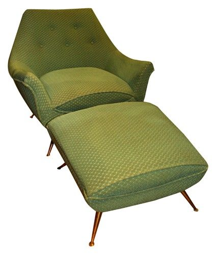 Vintage Mid Century Chair with Ottoman