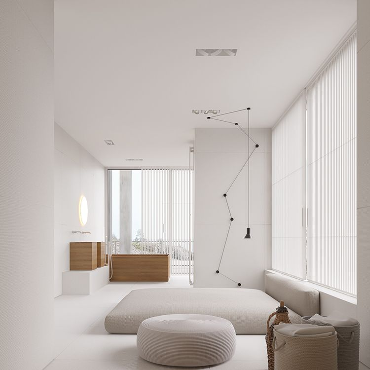Bright minimalist home with light wood accents ...