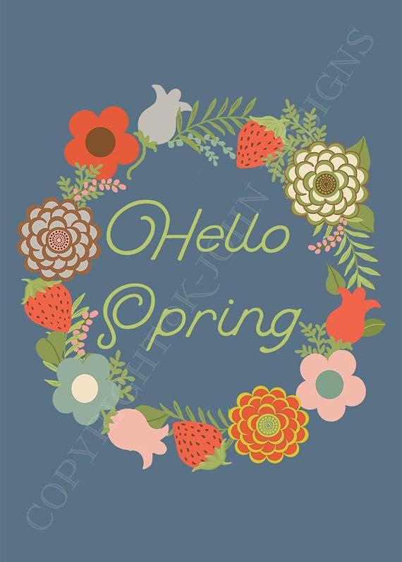 Hello Spring Printable | Floral Springtime Art Print