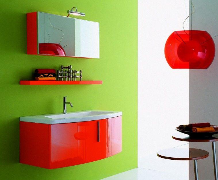 Modern Attractive Green Red Combo Bathroom Design Ideas
