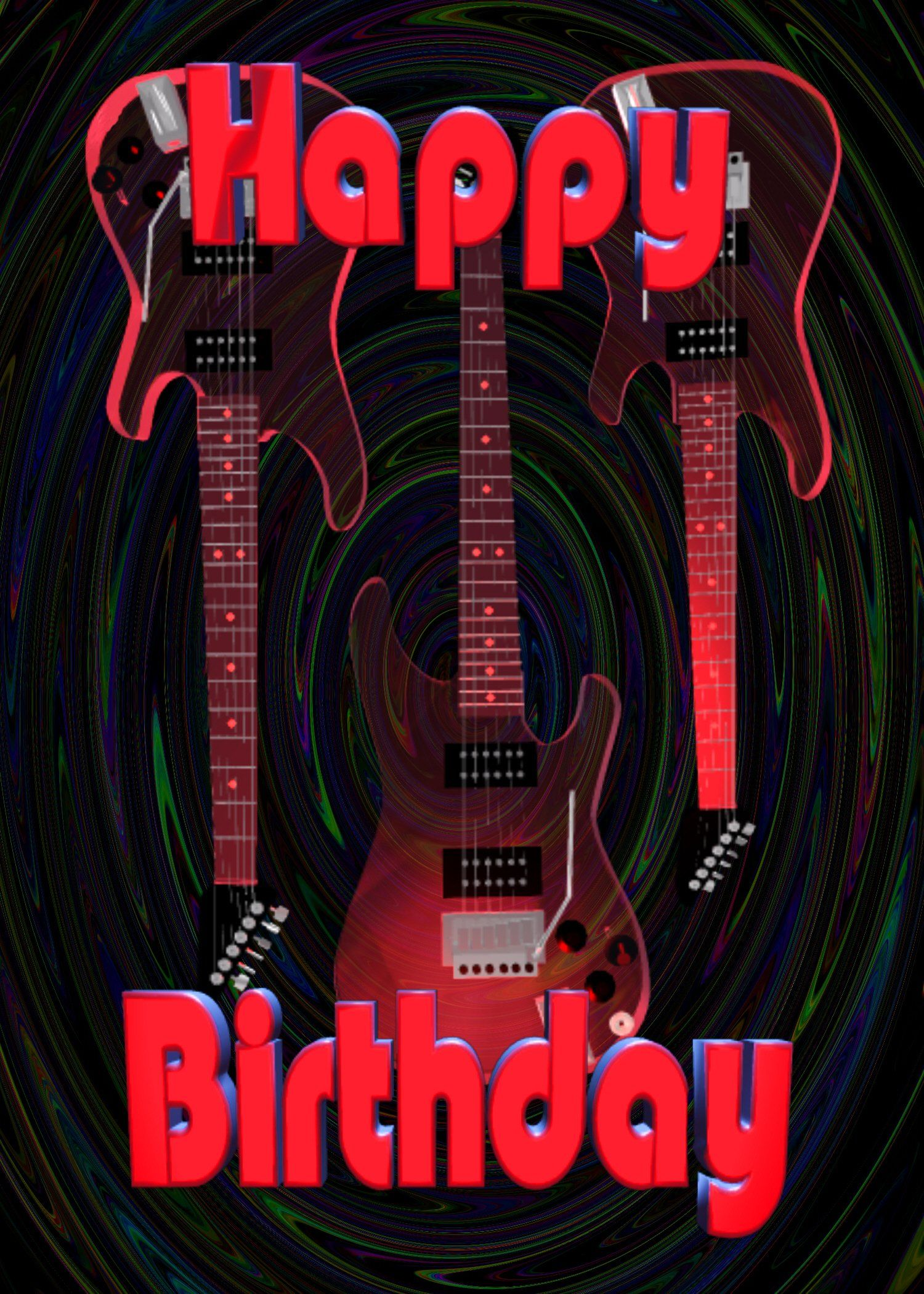 Red Guitars Birthday Greeting 5x7 Card Envelope Greeting Cards