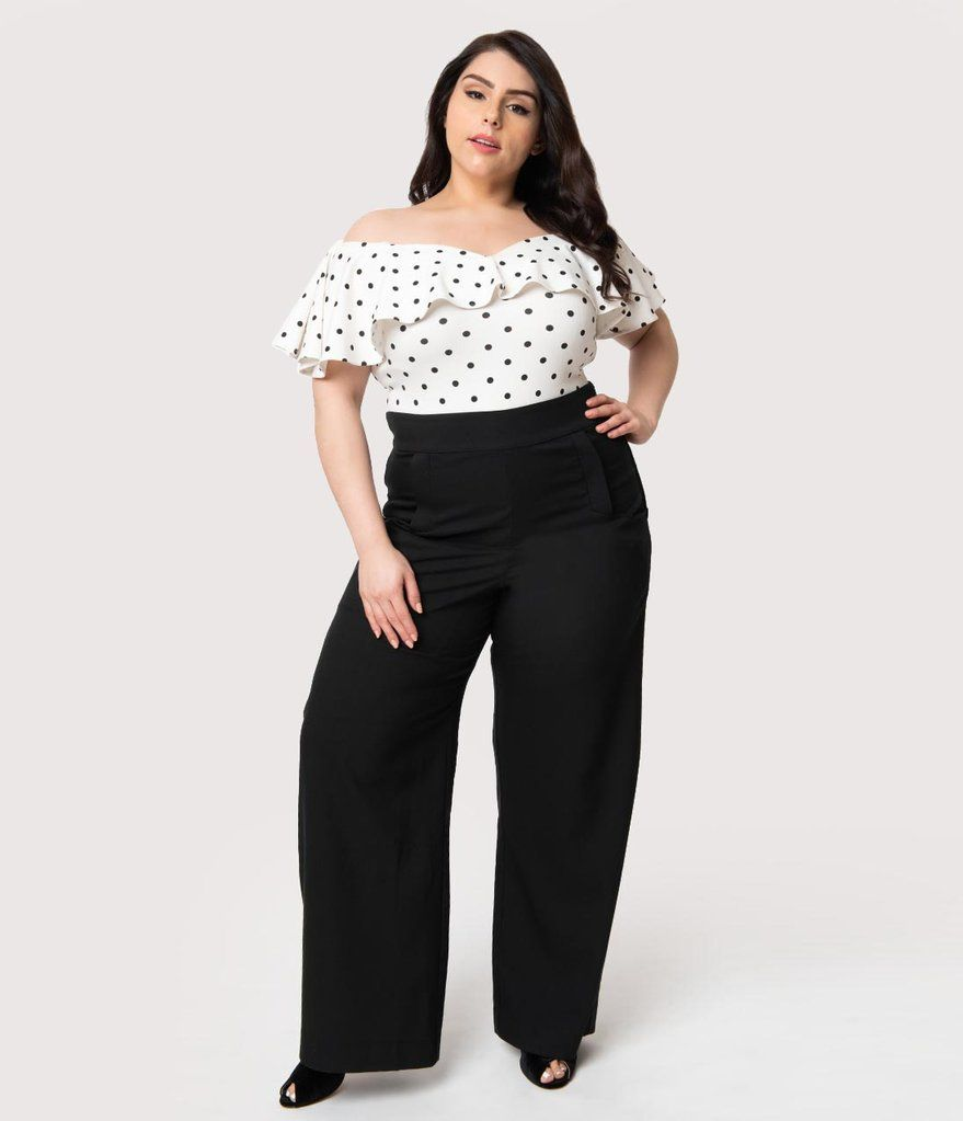81e81a58f40 Unique Vintage Plus Size 1940s Black High Waist Wide Leg Ginger Trousers