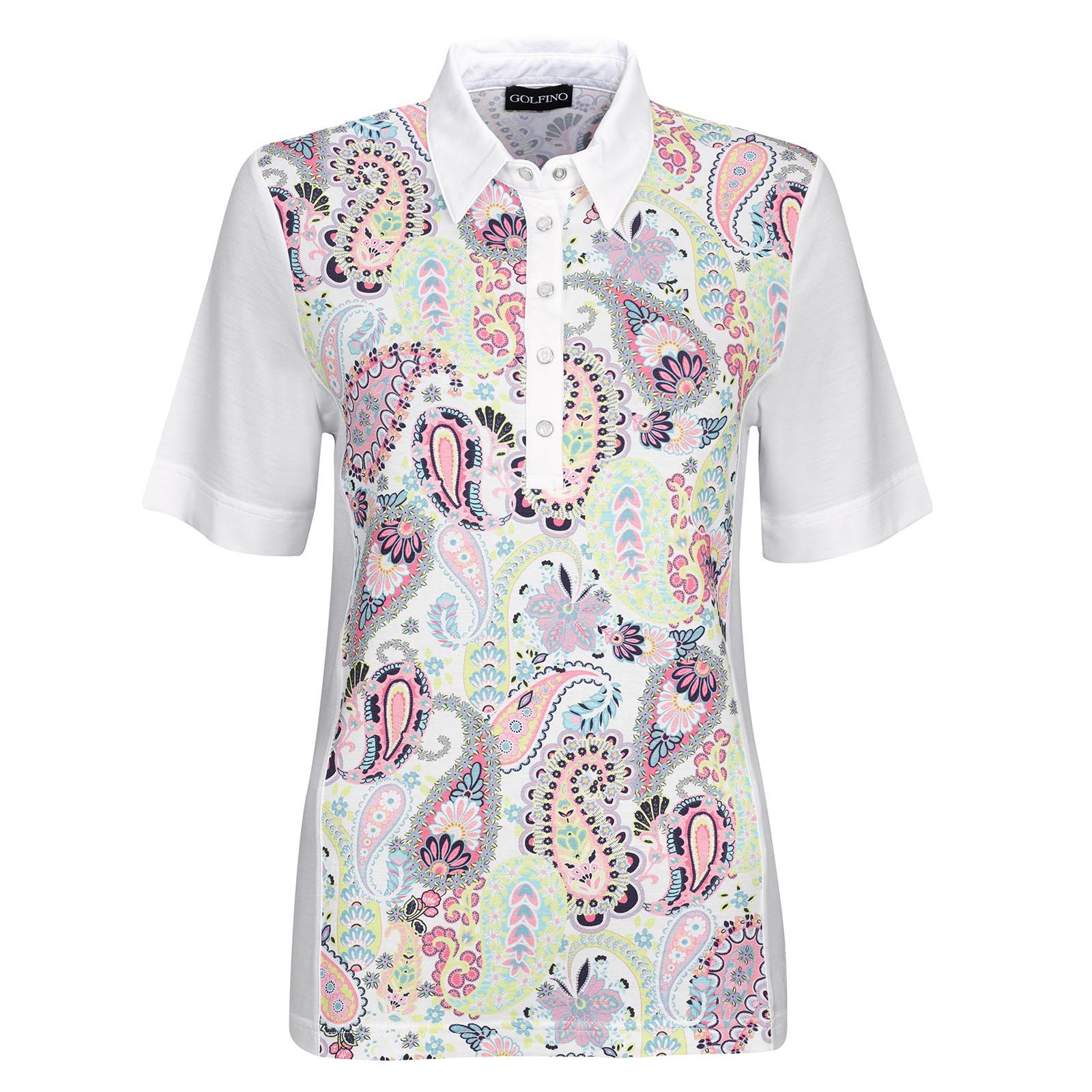 3c81dc602c1961 Golfino Short Sleeve functional golf polo from fine viscose mix with large  paisley print. Latest