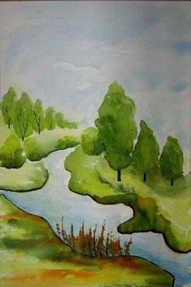 Rosa Haslbeck auf KUSELVER, Aquarell Landschaft