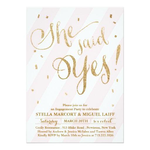 Pink Gold Glitter Engagement Party Invitation Zazzle Enagement