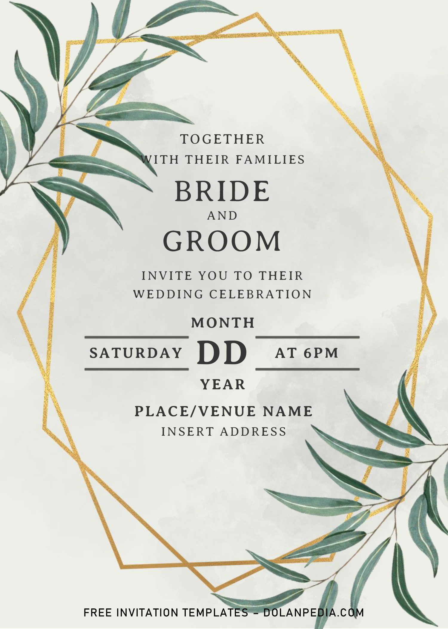 Greenery Geometric Wedding Invitation Templates Editable With Ms Word Geometric Wedding Invitation Wedding Invitation Templates Geometric Wedding - ms word wedding invitation templates