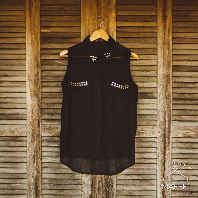 Camisa social sem manga - Preta - Closet Maffei