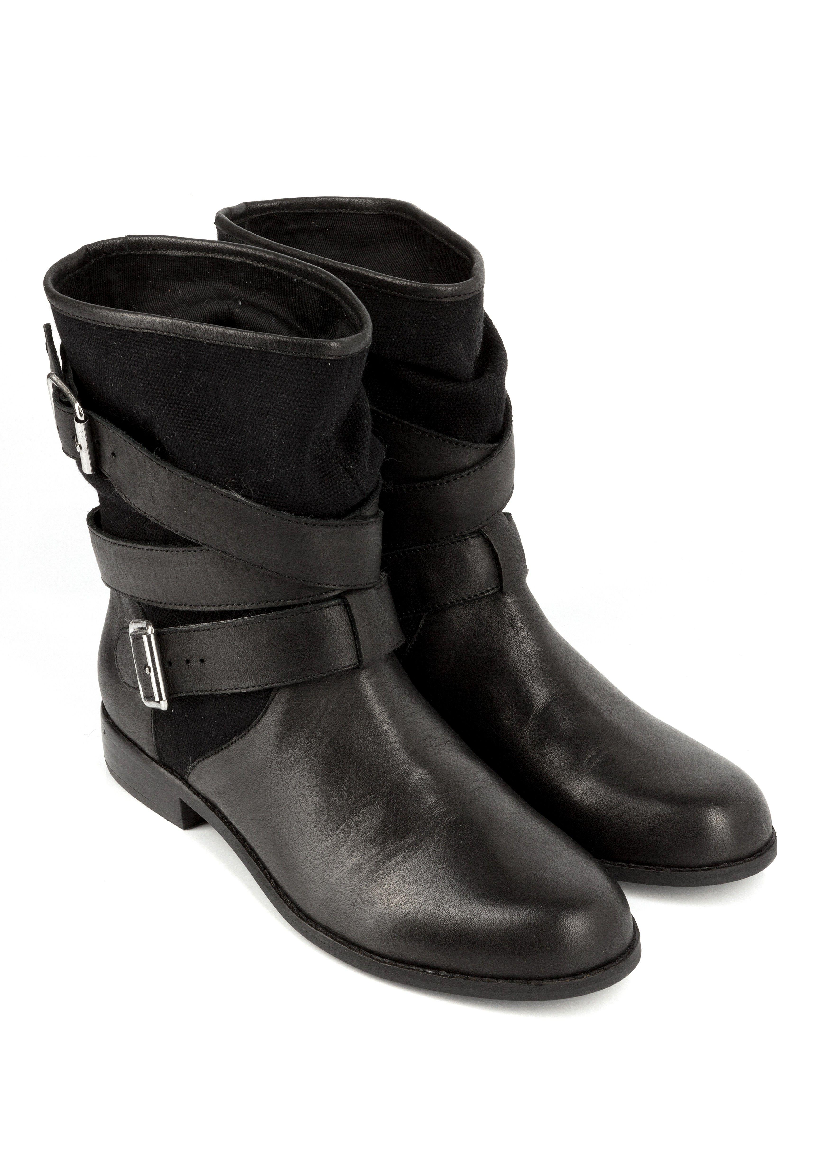 ded0a4c4a237e Boots à sangles NATALYA Noir - Bottines plates - CHAUSSURES FEMME - FEMME