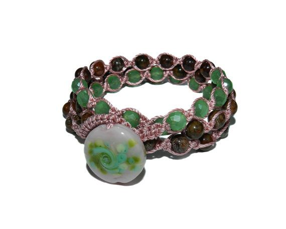 Green Opal and Crystal Pink Green and Brown Triple by GemsdeVine, $35.99