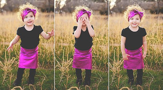 Set Baby  Toddler Child Metallic Hot Pink Pencil Skirt by RoyalRoe, $32.00