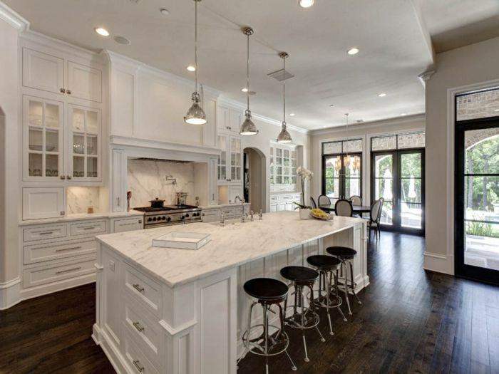 offene küche in weiß mit esszimmer kombiniert | Küche Möbel - Küchen ...