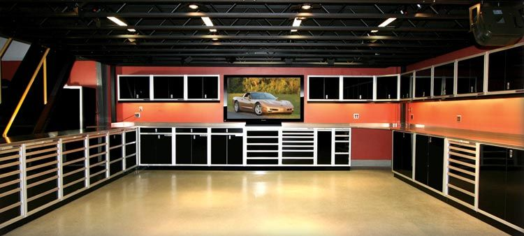 Black Aluminum Storage Cabinets With Big Screen Tv In Shop