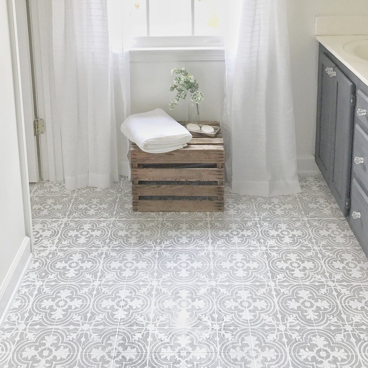 how to paint your linoleum or tile floors to look like patterned cement tiles full tutorial. Black Bedroom Furniture Sets. Home Design Ideas