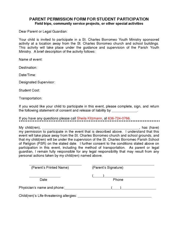 Participation Form Template Parent Permission Form For Donation Letter Lettering Consent Forms