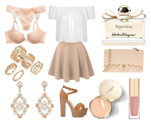 """Без названия #2257"" by southerncomfort ❤ liked on Polyvore featuring Topshop, Victoria's Secret PINK, Victoria's Secret, Forever 21, Sara Weinstock, Salvatore Ferragamo, Chanel and Dolce&Gabbana"