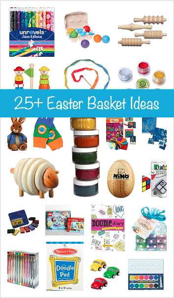 Over 25 easter basket ideas for kids basket ideas imaginative over 25 easter basket gift ideas for kids little basket stuffers perfect for easter including art supplies small toys stuffed animals and more negle Choice Image