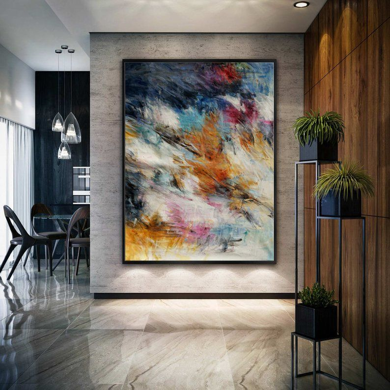 Colorful Abstract Super Extra Large Oversize Vertical Canvas Modern Wall Art Hand Made Oil Painting For Cozy Living Dinner Room Office Abstract Canvas Art Abstract Painting Modern Art Abstract #vertical #paintings #for #living #room