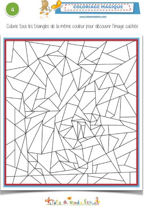 Coloriage magique avec des triangles atenci n classroom games math art et math - Coloriage fleur gs ...
