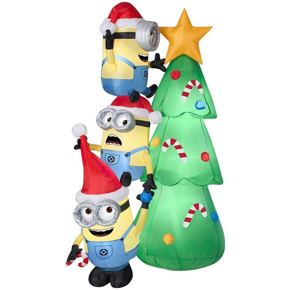 Inflatable Minions Decorating Tree Scene Christmas Decor Holiday Seasonal New Gemmy Minion Christmas Target Christmas Decorating With Christmas Lights