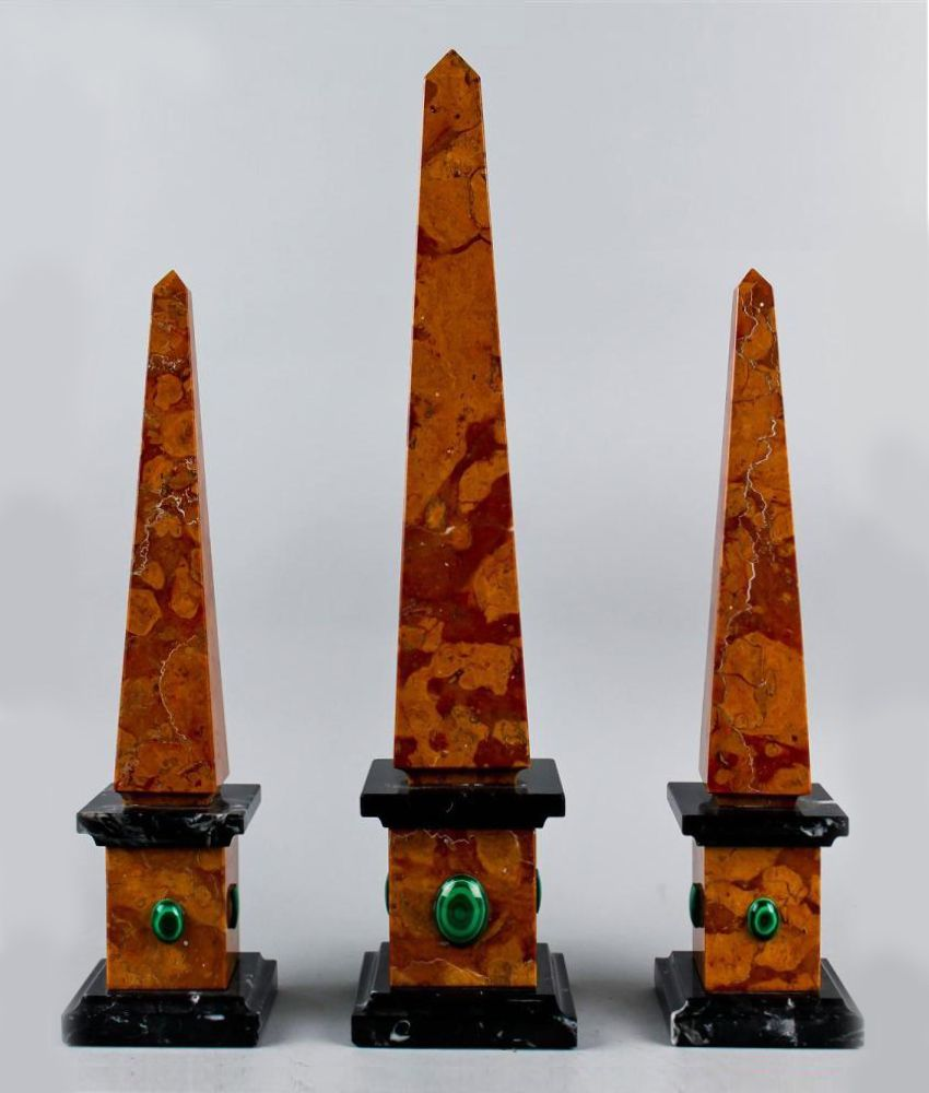 Set Of Three Rosa Verona Marble Obelisks Including One Large And A Pair Of Smaller Obelisks The Bases With Applie Obelisk Stylish Decor Architecture Fashion