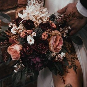 Fall Wedding Bouquet, Purple Bridal Bouquet, Silk Wedding Bouquet, Autumn Bridal Bouquet, Artificial Flower Bouquet, Dusty Rose Bouquet