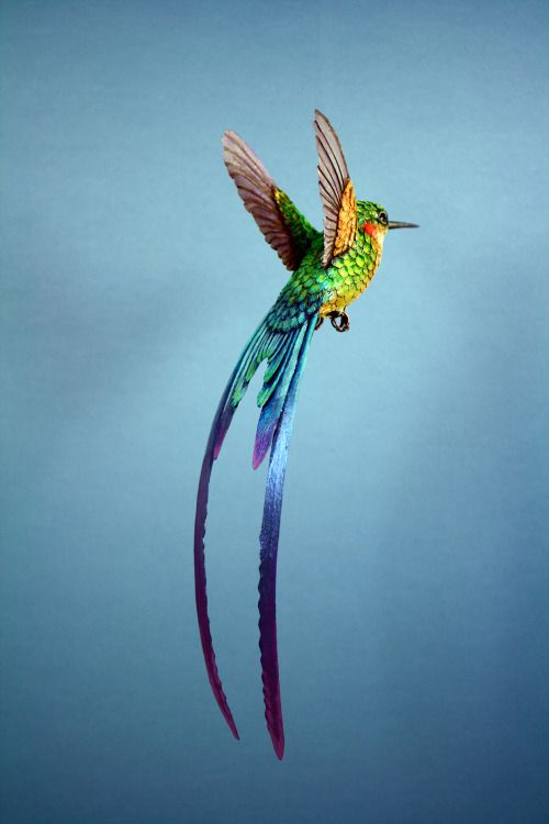 Pássaros de papel e madeira que parecem de verdade | araras azul ...