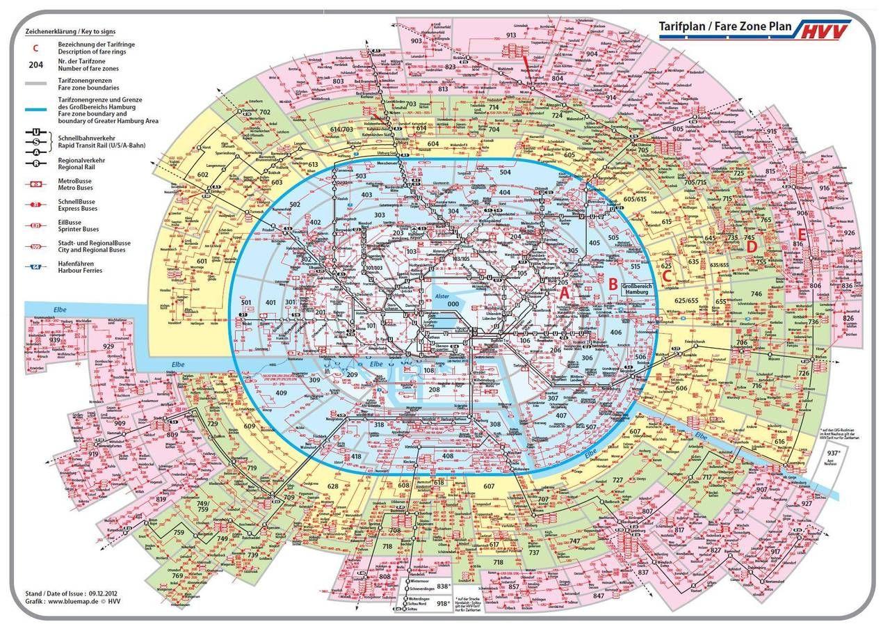 Hamburg S Public Transit Map Hamburg