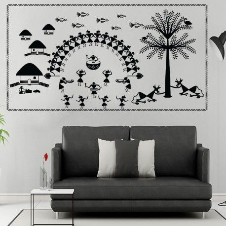 half circle warli dance wall decal in 2019 | interiors/balconies