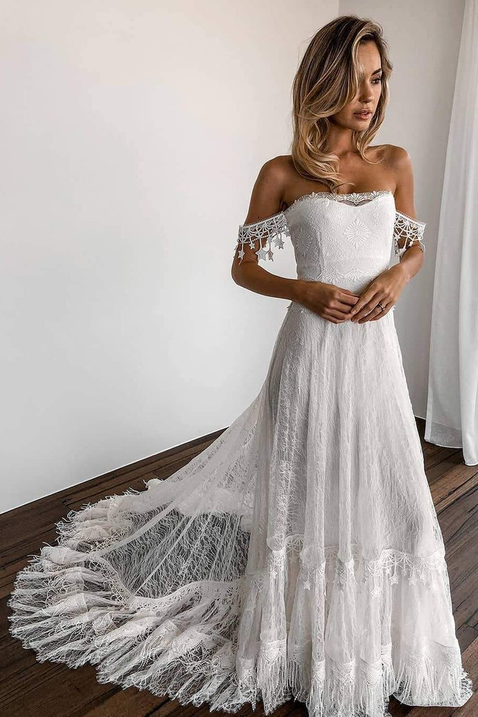 White Lace Long Bridal Gown With Off The Shoulder Fly019 Lace