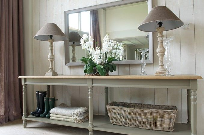 Classic Arrangement Of A Console Table Pair Of Lamps And Mirror