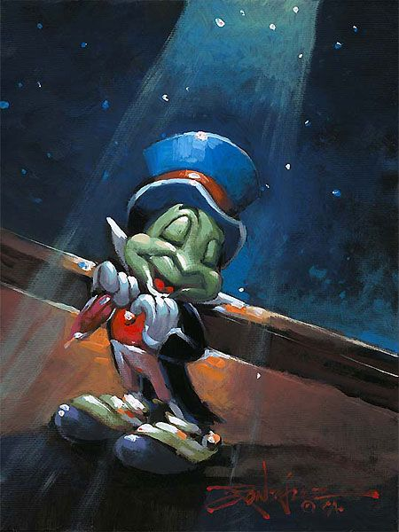 Pinocchio Proud Cricket Jiminy Cricket Original Rodel Gonzalez World Wide Art Com Disney Fine Art Disney Paintings Disney Art