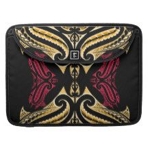Yellow Red tribal Maori tatau drawing polytat MacBook Pro Sleeve
