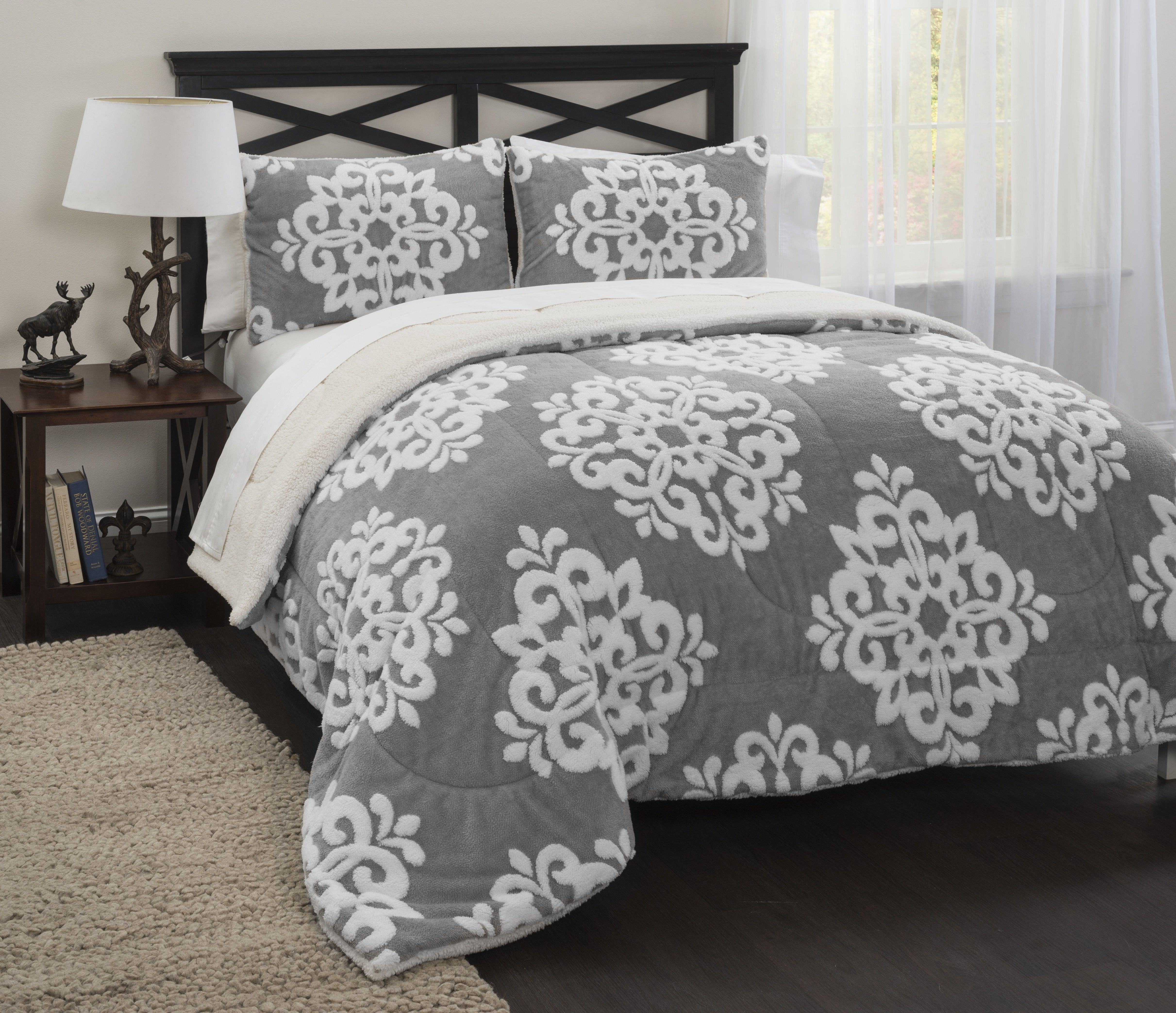 IDEA NUOVASherpa Damask Jacquard Comforter Set Brown Products - Blue and brown damask comforter