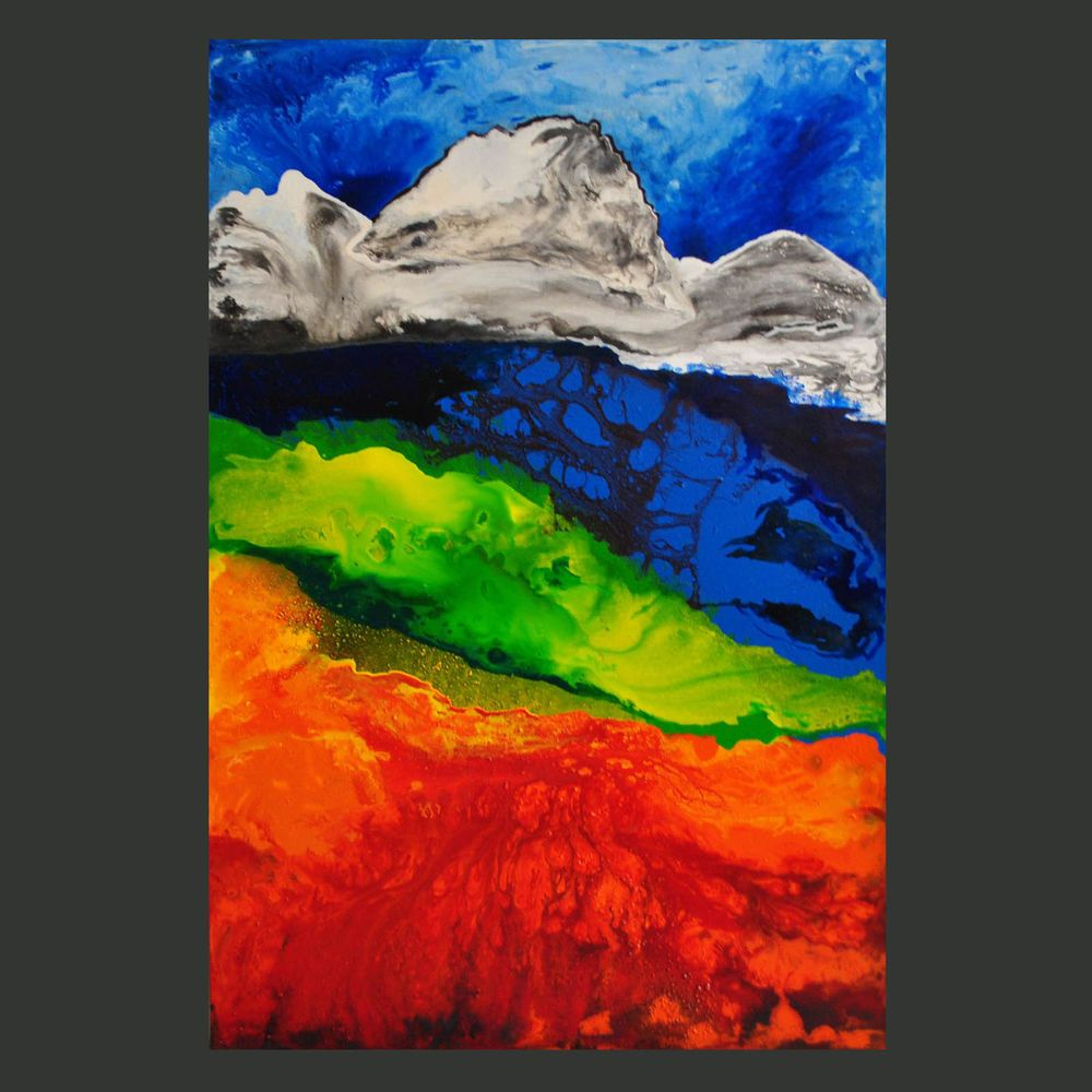 painting abstract acrylic textured art 24x36x1 free shipping