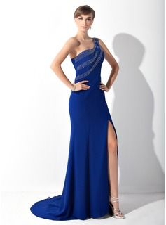 7a4ae7dd508 Trumpet Mermaid One-Shoulder Sweep Train Chiffon Mother of the Bride Dress  With Beading Split Front (008015147) - JJsHouse