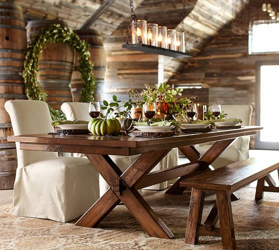 "Dining Room Tables Pottery Barn toscana extending rectangular dining table | pottery barn 74""x 40"