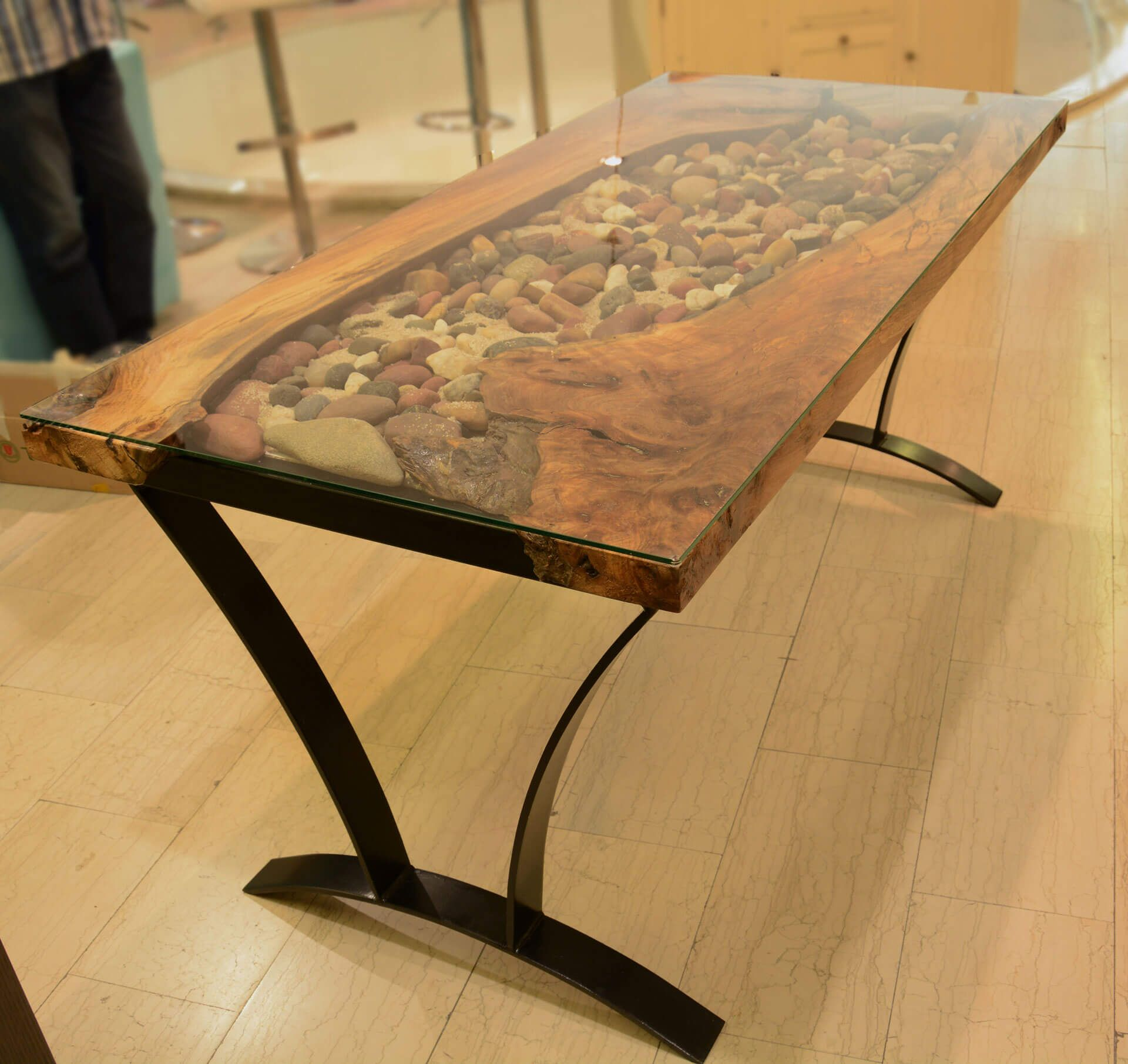 Walnut glass river rock wood table | Resin table, Wood ...