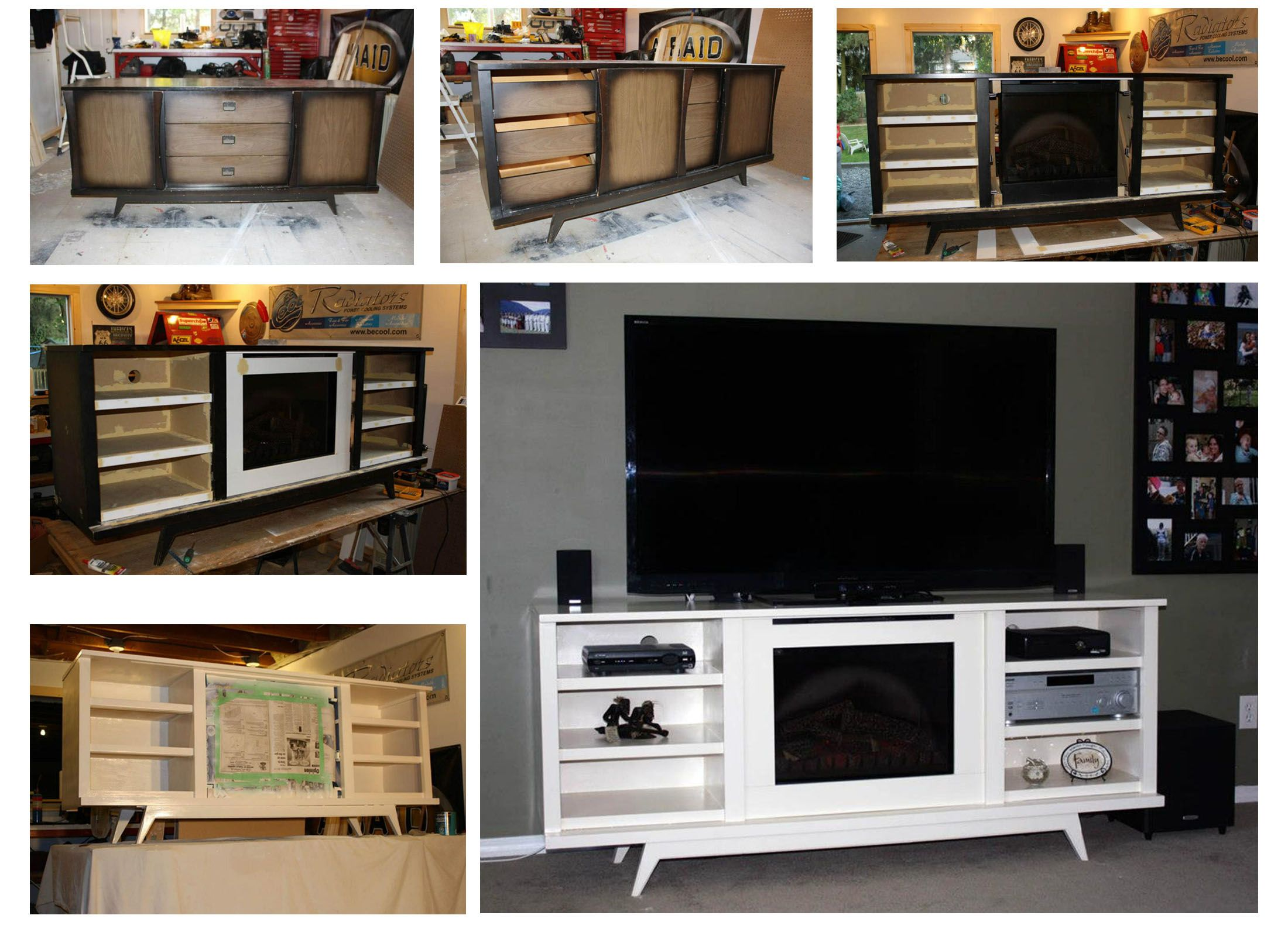 I Turned An Old Dresser Into An Entertainment Stand With Built In Electric Fireplace Old Dressers Built In Electric Fireplace Fireplace Tv Stand