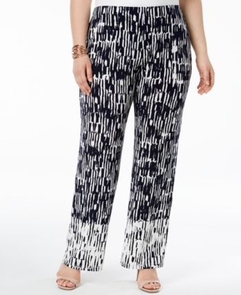 3c1e5662031 Alfani Plus Size Printed Knit Wide-Leg Pants