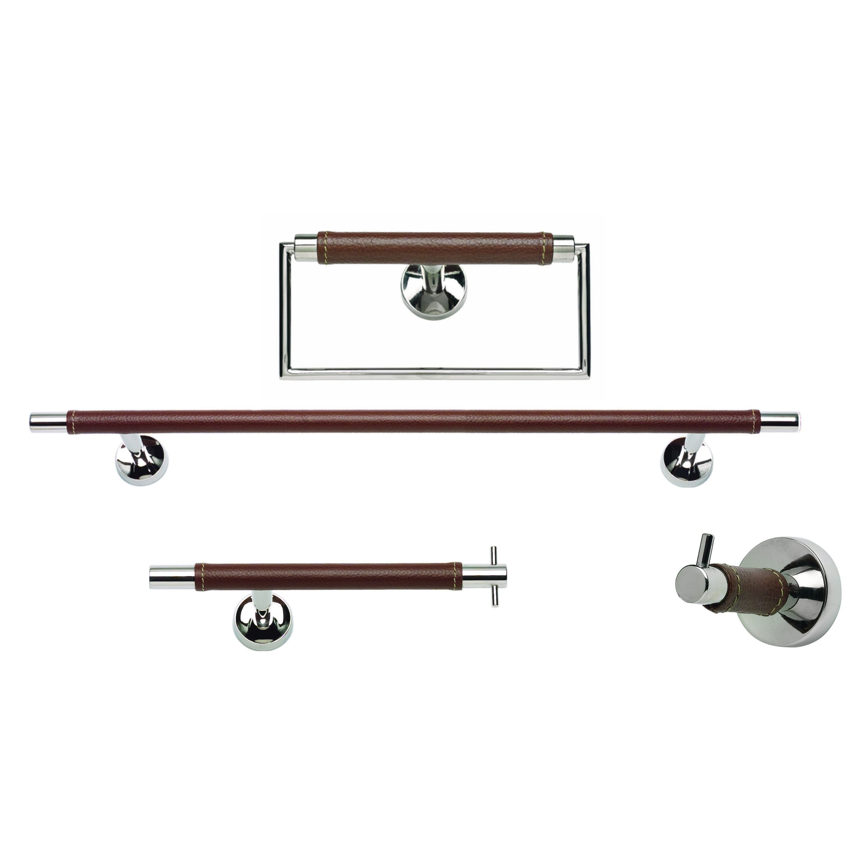Atlas chrome grey and brown leather piece bathroom accessory set